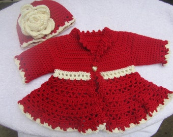 Crocheted Victorian Cardigan infant to toddler sizes available