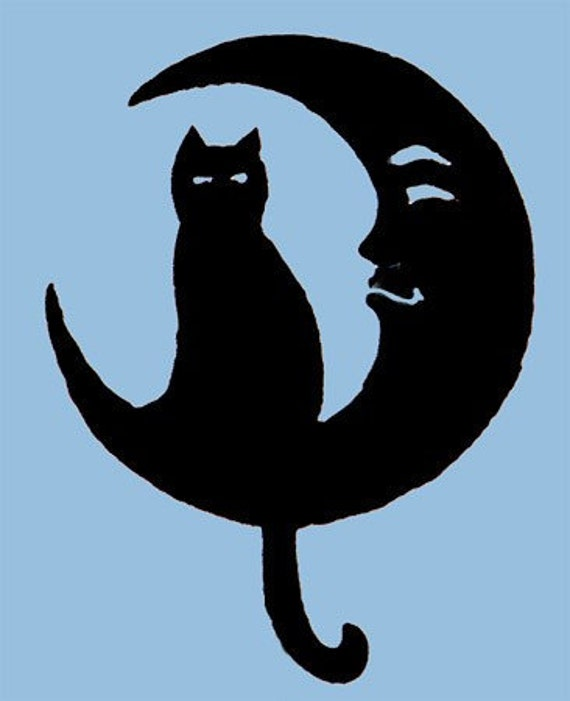 Cat on moon 16 inch diameter metal wall art by rustiques for Cat yard art