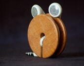 Wood Ear Bud Holder / Earphone Organizer - Mahogany wood