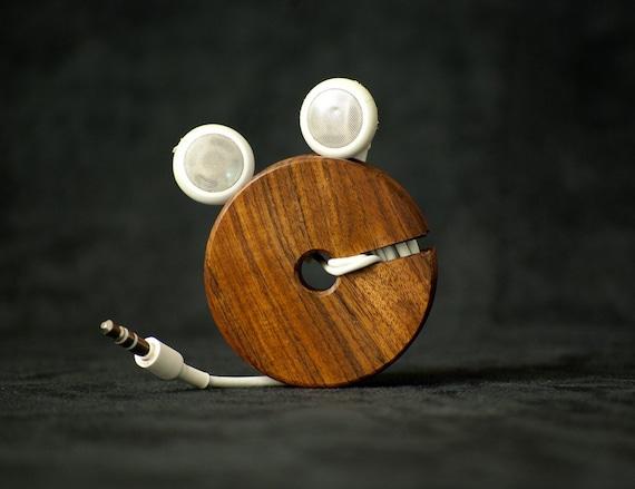 Wood Ear Bud Holder / Earphone Organizer - Bolivian Rosewood (Morado)
