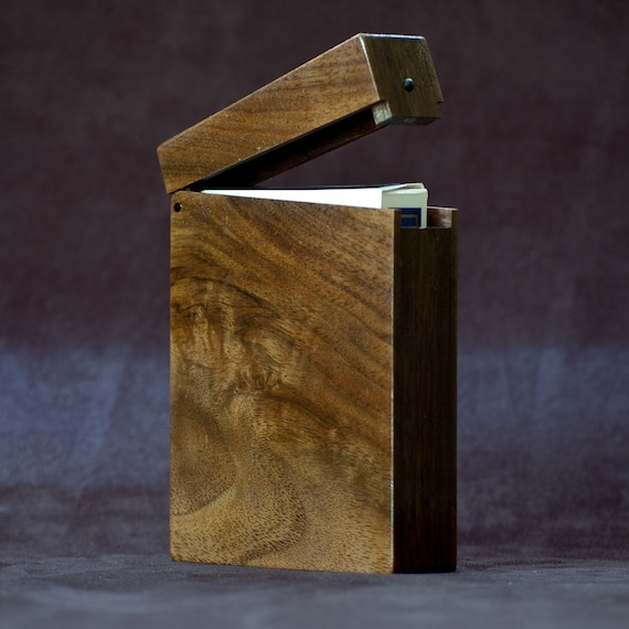 Wood Playing Card Case Figured Walnut and Rosewood