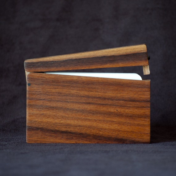 Wood Business Card Holder and Credit Card Case - Bolivian Rosewood (Morado) and Teak