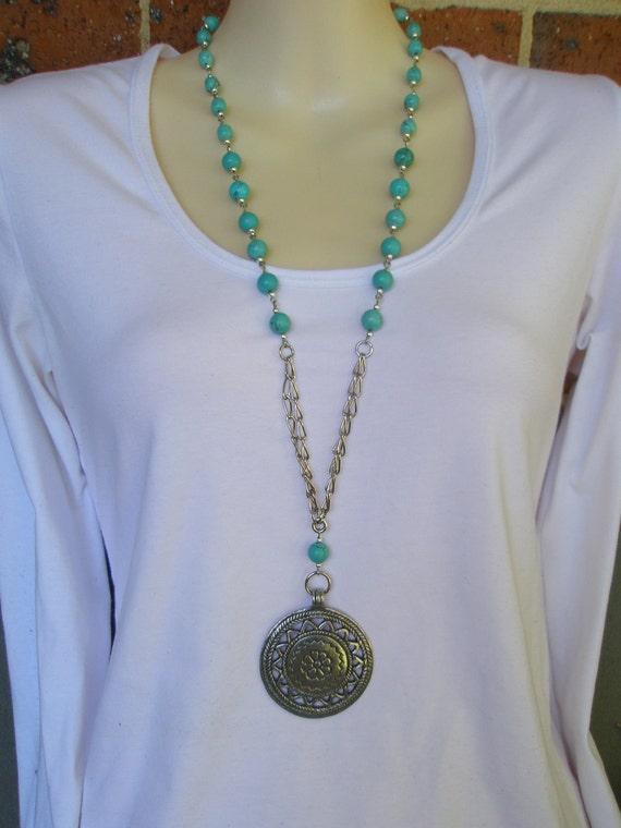 Long Turquoise Blue & Silver Pendant Necklace
