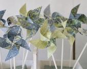 Custom Cake Topper Pinwheels Party Favors - 12 Mini (Custom orders welcomed) Blue and Green