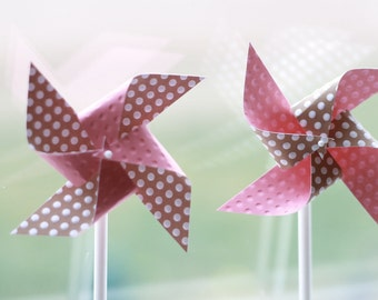 Pink and light brown Favors baby girl shower decorations cookies and milk party decorations 12 Mini Spinnable Pinwheels