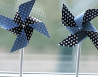 Party favors 12 Mini Spinnable Baby Blue and Dark Brown Polka dot Pinwheels
