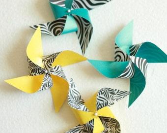 Zebra print 12 Mini Spinable Pinwheels Zebra Print (Custom orders welcomed)