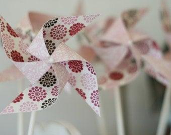 Pinwheels christening wedding Pink Party favors - 12 Mini Spinnable Pink Party Pinwheels - Custom orders welcomed baby girl christening deco