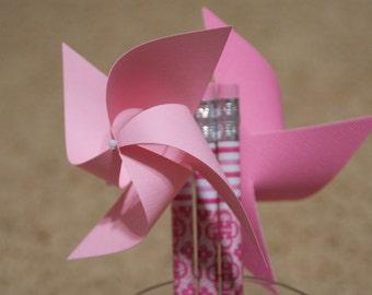 Pink Wedding Favors 6 Mini Pinwheel pencils (Custom orders welcomed)