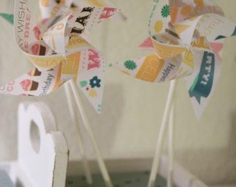 Cupcake toppers Birthday Favor 12 Mini Pinwheels Birthday Bash (Custom orders welcomed)