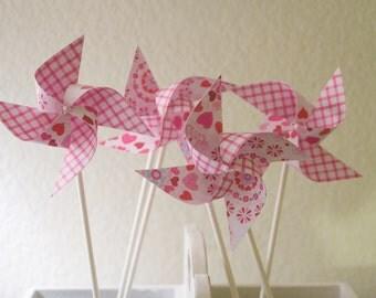 GINGHAM Wedding deocr 12 Mini Pinwheels Pink Heart (Custom orders welcomed)