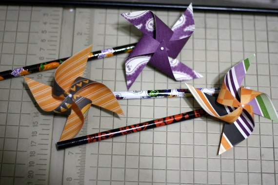 Halloween Party Favor 6 Mini Spinnable Pinwheel pencils (Custom orders welcomed)