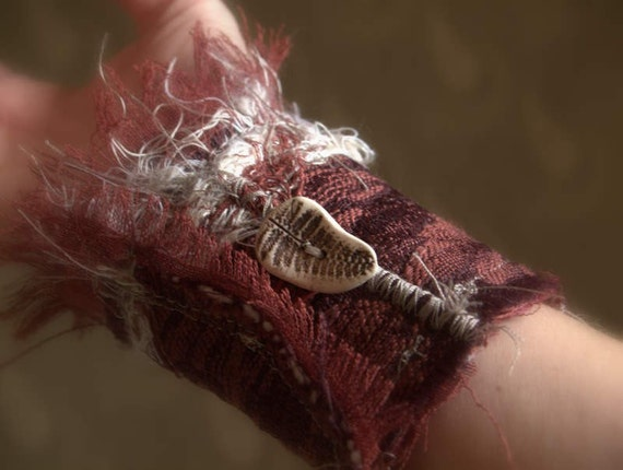 Burgundy Fabric Cuff with Woodland button -FADING SCARLET