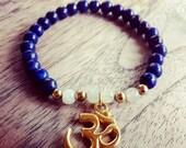 Gemstone Bracelet Lapis Lazuli and Moonstone with gold OM Charm, Yoga, Chakra, Buddhism, Mantra, Meditation,
