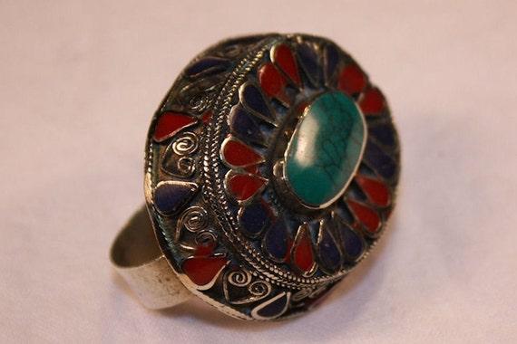 Double Finger Kuchi Ring - Green Turquoise