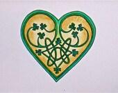 Celtic Heart Print with Tiny Shamrocks