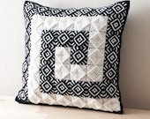 """SALE - Free Shipping- LABYRINTH MEANDER Decorative Pillow Cover in Handmade Embroidered Black off White Embossing Pattern- 16""""x16""""(40x40cm)"""