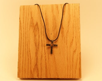 Small Hand Forged Iron Cross Necklace