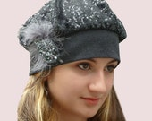 French Encounter Sequined Grey Beret in Thin Wool Knit with Feather Trim, Slouchy Party Hat, Beaded Beanie
