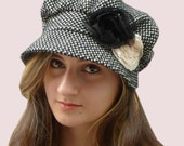 CUSTOM ORDER: Slouchy Newsboy Cap Black Cashmere Blend Knit with Double  Rose  Trim