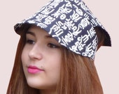 Beach Bandanna Cap in Black and White Chinese Script Print, Adjustable, Ponytail Friendly