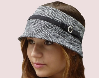 CLEARANCE: Brim and Trim Plaid Headband with Bow in Black and White Stretch Wool