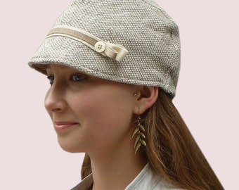 Preppy Hiker Cotton Knit Beanie Cap, Newsboy Cap with Tiny Visor Brim, with Double Ribbon Trim, In  Cream and Taupe, Best Seller Item