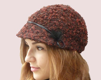 Toy Poodle Newsboy Cap, Knit Beanie Hat with Visor in Burgundy Wine Boucle Knit in Wool and Mohair, with Fur Pompom Trim