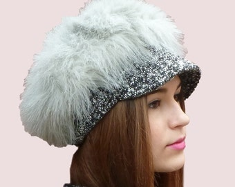 Royal Guard Furry Cap, Newsboy Hat for Winter, Soft and Warm Original Beret in Fluffy Fake Faux Gray Fur and Tweed