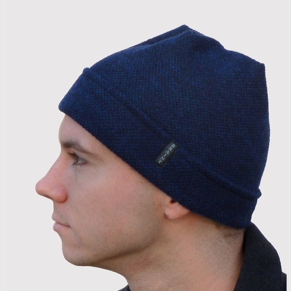 Brainy Guy Beanie Men's Hat with Storm Flap Ear Warmer in Dark Navy Blue Cashmere Blend Knit, Soft and Stretchy, Sporty and Stylish
