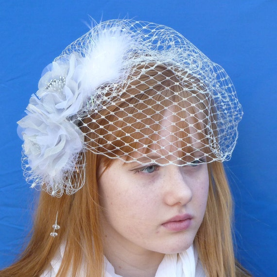 Silver Wedding Bridal Fascinator with Roses, Feathers, and Veiling