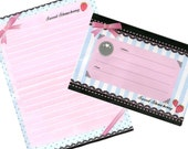 Letter Set Sweet Strawberry Pink Ribbon Lace and Ornament Classic Writing