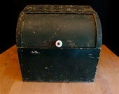 Vintage Tin Bread Box with Porcelain Knob in old Deep Green Paint