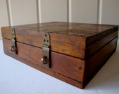 Vintage Handmade Oak Letter Filing Box Treasure Chest