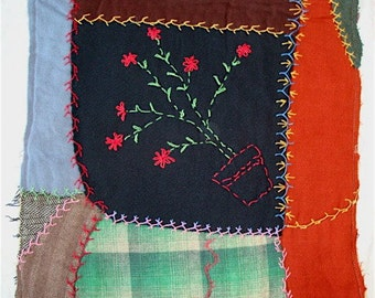 """Embroidered Wool Quilt  with Red Flower Pot, 16"""" Square Cutter to UPcycle"""