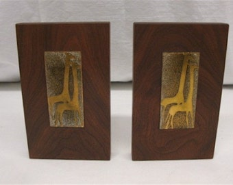 African Giraffe Bookends in Copper Enamel, Abstract Mid-Century Modern Style