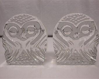 Mid-century Modern Blenko Owl Bookends, Glass Bookends