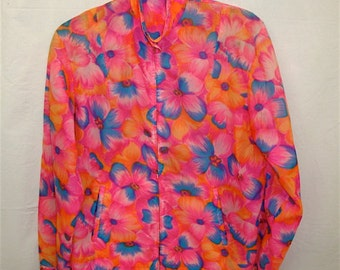 BRIGHT Floral Windbreaker Jacket,  Nylon Print in Hot Pink and Orange, Vintage 1970s