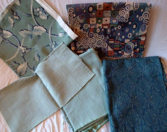 Blue Vintage Upholstery Fabric Group, Aqua & Turquoise, Decorator Remnant
