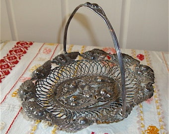 Antique Silverplate Basket Dish with Plums and Leaves, Beautiful Intricate Detailing