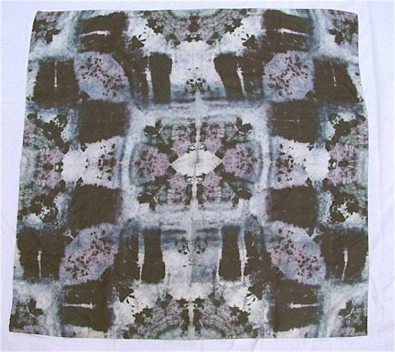 Unisex Silk Scarf Muffler by MARK CROSS, Denmark, in Grey Black Batik Tie Dye
