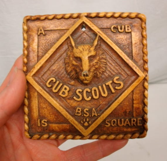 Cub Boy Scouts 'A Cub Is Square' Syroco Faux Wood Carved Wall Plaque