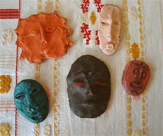 Mini Handmade Clay Decorative Masks or Plaques, set of 5