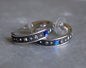 Grey and Blue Swarovski Crystal Hoop Earrings