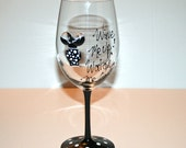 TaTa Glass - Hand Painted Wine Glass for the Sassy Gal - Black Polka Dots