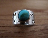 Native indian american turquoise and sterling silver ring