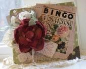 Cottage lovely large bloom BINGO LOVE vintage style handmade card