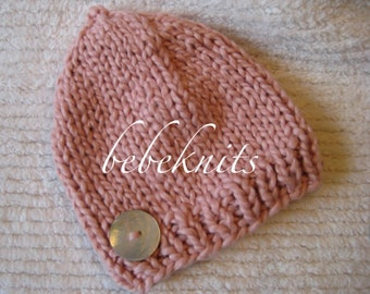 Hand Knit Pink Organic Cotton Newborn Hat