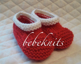 Red and White Hand Knit Baby Booties