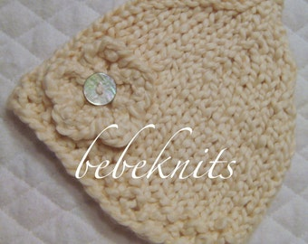 Hand Knit Organic Cotton Newborn Hat in Buttermilk